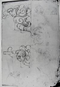 Estudios de elementos arquitectónicos y para el retrato alegórico de Felipe IV. Sebastián de Herrera Barnuevo. Archivo Histórico Nacional de Madrid.