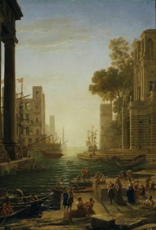 Claudio de Lorena: Paisaje con el embarque en Ostia de Santa Paula. Museo Nacional del Prado, Madrid.