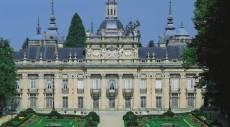 Vista de la fachada hacia los jardines del Palacio de La Granja de San Ildefonso, Segovia.