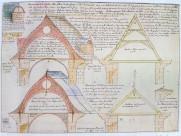 Dionisio Mantuano: Dibujo para la reconstrucción de las techumbres de El Escorial. Archivo Histórico Nacional.