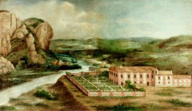Anónimo: Vista de la casa de Arriba de Vaciamadrid, siglo XVII. Madrid, Patrimonio Nacional.
