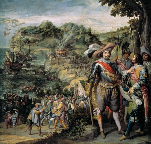 Félix Castello: Reconquista de la Isla de San Cristobal. Museo Nacional del Prado, Madrid.