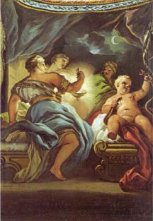 José del Castillo: Hércules en la cuna sofocando a las serpientes. Real Academia de Bellas Artes de San Fernando, Madrid.