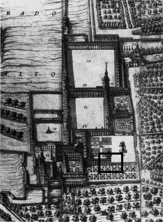Pedro de Texeira: El palacio y parque del Buen Retiro (1656). Madrid, Museo Municipal de Madrid. Recuadrada en negro se encuentra la ubicación actual del edificio.