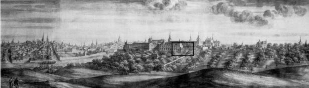 Pier María Baldi: El Palacio y parque del Buen Retiro (1668). Florencia, Biblioteca Laurenziana. La zona señalada con un rectángulo negro es el lugar aproximado que hoy en día ocupa el edificio.