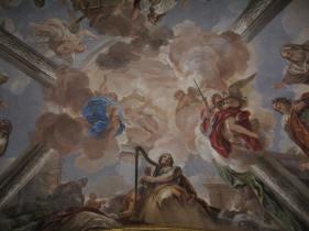 Luca Giordano: Detalle con el Rey David. Bóveda de la Basílica de El Escorial. Monasterio de San Lorenzo de El Escorial, Madrid.