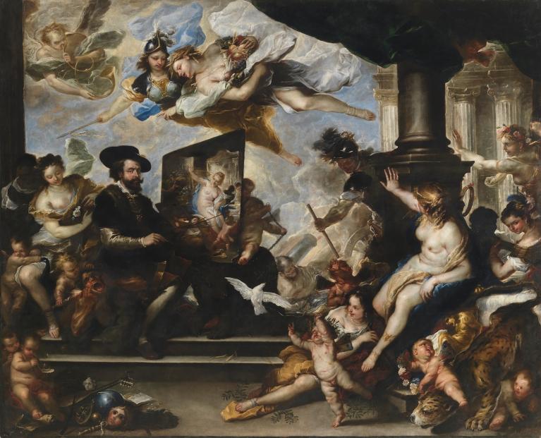 Luca Giordano: Rubens pintando la Alegoría de la Paz. Museo Nacional del Prado, Madrid.