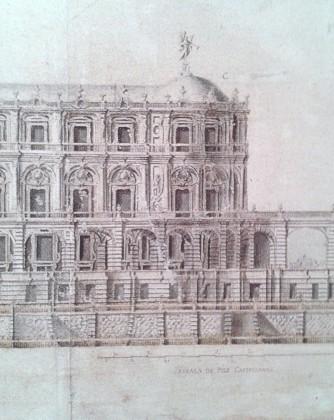 Pedro de Ribera: Detalle del alzado de la fachada que mira al parque.