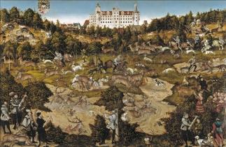Lucas Cranach el Viejo: Cacería en honor de Carlos V en el Palacio de Torgau. Museo Nacional del Prado, Madrid.