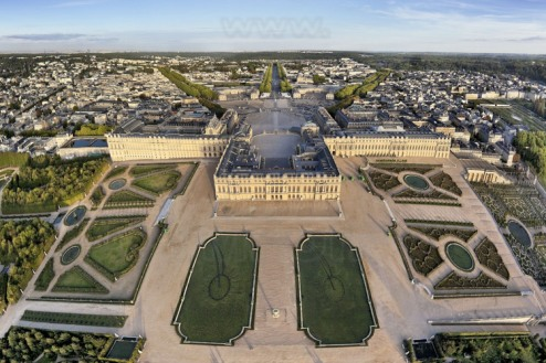 Vista aérea del Palacio de Versalles.