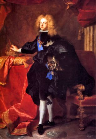 Hyacinthe Rigaud. Felipe V vestido a la española. 1701. Palacio de Versalles. Foto: wikipedia.