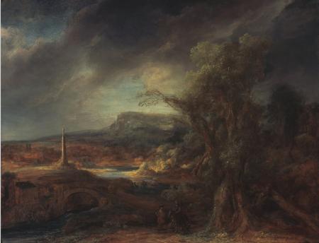 Flinck: Paisaje con obelisco.