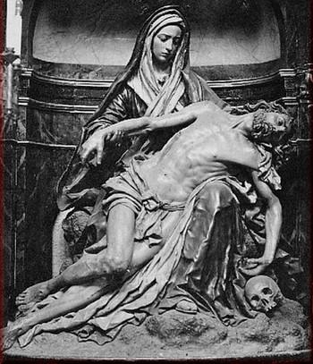 Luis Salvador Carmona: Foto antigua de la Piedad del Oratorio del Olivar (destruida).