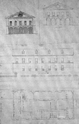 Juan Gómez de Mora: Planta y alzados de la casa de Monesterio. Patrimonio Nacional, Madrid.