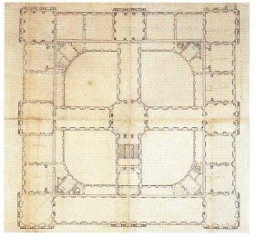 Robert de Cotte: Segundo Proyecto. Planta del piso bajo, 1714-1715. Biblioteca Nacional de Francia, París.