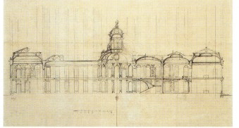 Robert de Cotte: Segundo proyecto. Sección longitudinal con proyección de las escaleras, 1714-1715. Biblioteca Nacional de Francia, París.