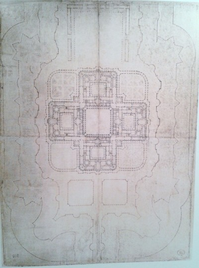 Pedro de Ribera: Planta general al nivel del piso principal.