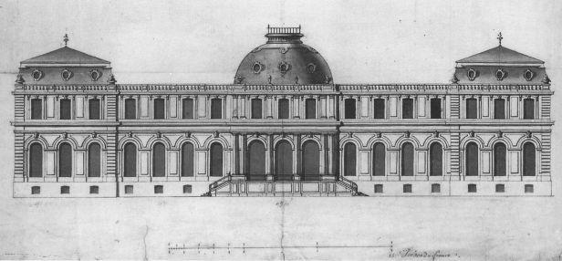 Robert de Cotte: Alzado del Palacio de Poppelsdorf, 1715.