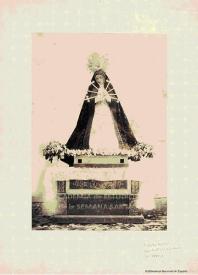 Estampa antigua con la imagen de la Virgen de los Siete Dolores y la Compasión.
