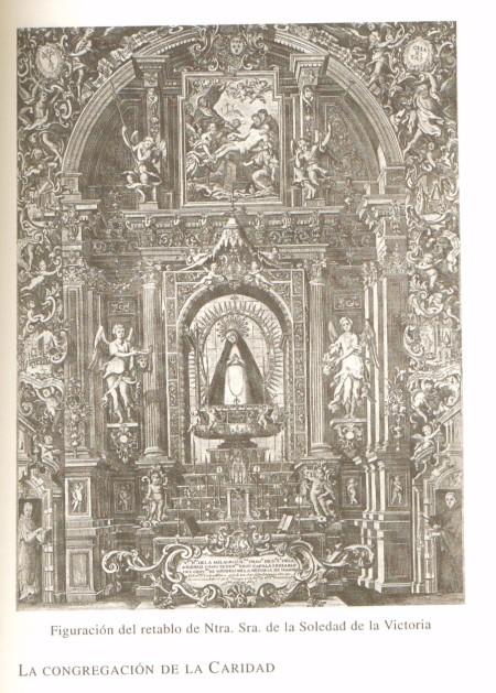 Grabado antiguo con el altar del Convento de las Victorias con la imagen de Nuestra Señora de la Soledad.