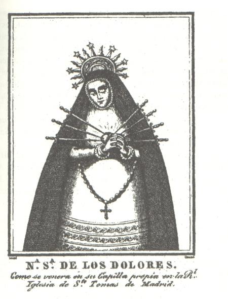 Grabado de la Virgen de los Siete Dolores.