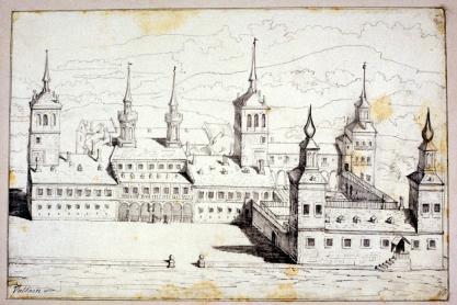 Anónimo: Dibujo del Palacio de Valsaín, siglo XVII. Madrid, Museo Lázaro Galdeano.