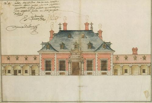 Juan Gómez de Mora: Fachada principal de La Zarzuela. Archivo Histórico de Protocolos de Madrid.