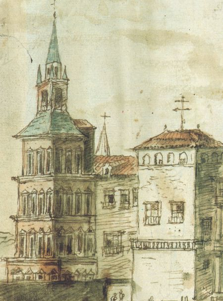 1.Anton Van der Wyngaerde: Detalle de la vista del Alcázar donde se aprecia la Torre Dorada.