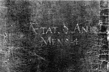 Detalle de la inscripción en el lienzo.