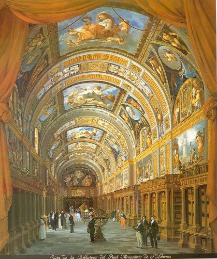 Fernando Brambilla: Vista de la Biblioteca del Real Monasterio. Madrid, Patrimonio Nacional.