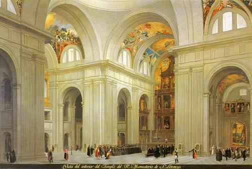 Fernando Brambilla: Vista del interior del templo del Real Monasterio. Madrid, Patrimonio Nacional.