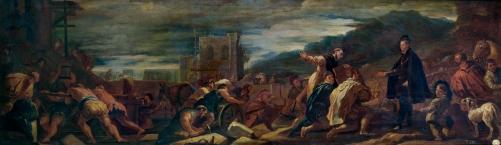 Luca Giordano: Felipe II con sus arquitectos inspeccionando las obras de El Escorial. Madrid, Museo Nacional del Prado.