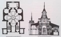 Planta y sección de la Ermita de la Virgen del Puerto, Madrid.