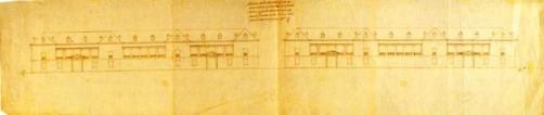 Juan de Herrera: Diseños para las Casas de Oficios de San Lorenzo de El Escorial. Vista por la calle Floridablanca. Madrid,  Archivo General de Palacio.