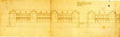 Juan de Herrera: Diseños para las Casas de Oficios de San Lorenzo de El Escorial. Seccíon del edificio por la calle Floridablanca. Madrid,  Archivo General de Palacio.