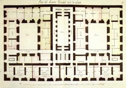Juan de Villanueva: Planta del piso principal de la Casa de Ministerios o Tercera Casa de Oficios de San Lorenzo de El Escorial, Real Biblioteca.