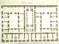 Juan de Villanueva: Planta del piso bajo de la Casa de Ministerios o Tercera Casa de Oficios de San Lorenzo de El Escorial, Real Biblioteca.