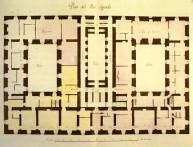 Juan de Villanueva: Planta del piso segundo de la Casa de Ministerios o Tercera Casa de Oficios de San Lorenzo de El Escorial, Real Biblioteca.