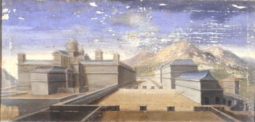 Anónimo Español: Vista del Monasterio de El Escorial. En primer término a la derecha se aprecia el edificio de las Caballerizas de Carlos II junto a la Segunda Casa de Oficios. Madrid, Patrimonio Nacional.
