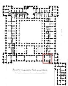 Planta del Palacio Real de Madrid en donde se señala la ubicación de la Pieza de Trucos.