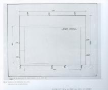 7. Esquema de las dimensiones del lienzo original y de las bandas añadidas. Publicado en Garrido (1992).