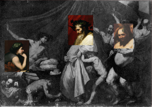 Recomposición a través de los fragmentos del óleo de Ribera conservados y de una copia de éste de la imagen del cuadro de la colección real.