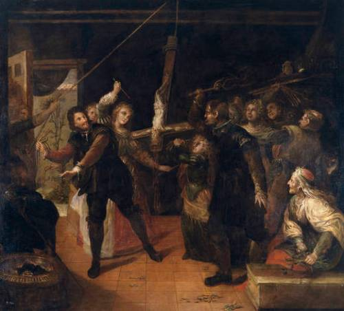 Francisco Rizi: Familia de herejes azotando un crucifijo. Museo Nacional del Prado, Madrid.