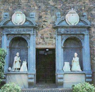 Vista actual de la salida exterior al jardín del Palacio del Viso del Marqués.