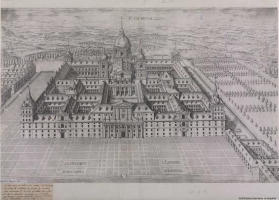 Juan de Herrera y Pedro Perret: Séptimo Diseño, Perspectiva general de todo el edificio. Madrid, Biblioteca Nacional de España.