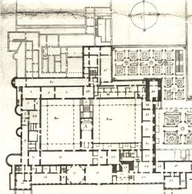 """Teodoro Ardemans: Planta principal del Alcázar de Madrid. Con la letra """"A"""" aparece marcada la Real Capilla y con el """"16"""" la Pieza Ochavada, """"23"""" la pieza de las furias y """"17"""" el salón de los espejos."""