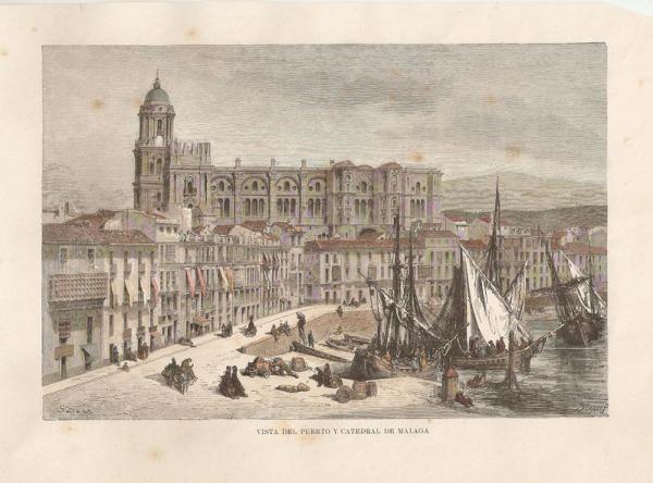 Gustave Doré y grabado Degreef: Vista del puerto y Catedral de Málaga. Madrid, Museo Nacional del Prado.