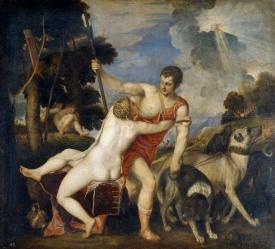 Tiziano Veccellio: Venus y Adonis. Madrid, Museo Nacional del Prado.