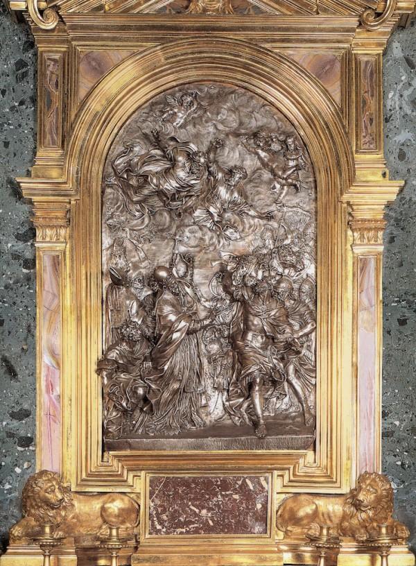 Alessandro Algardi (diseño) y Ercole Ferrata: Altar de plaza de León X detiendo a Atila. Madrid, Patrimonio Nacional.