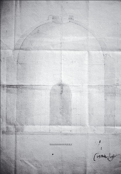 Cosme Lotti: Dibujo para la realización de una cueva o gruta. AHPM, Protocolo 5283, Fol. 636.